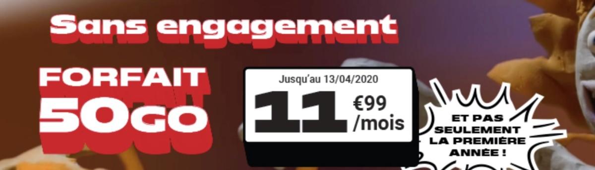 Ce forfait mobile 50 Go revient à 11,99 €/mois même après un an