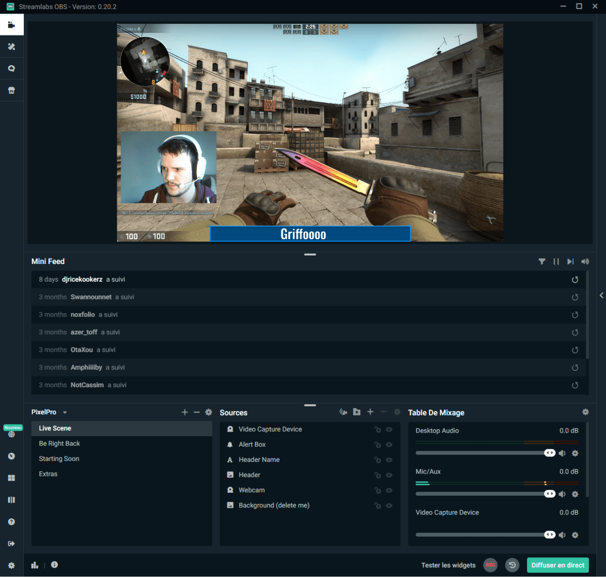 L'interface de Streamlabs sur PC