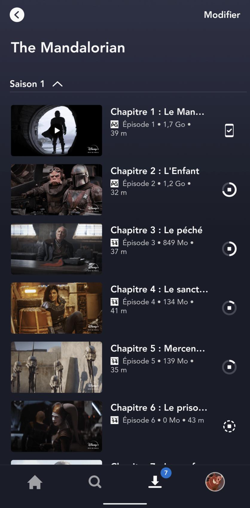 Le premier épisode est téléchargé, comme l'indique l'icône à sa droite tandis que les autres épisodes sont en train d'être enregistrés