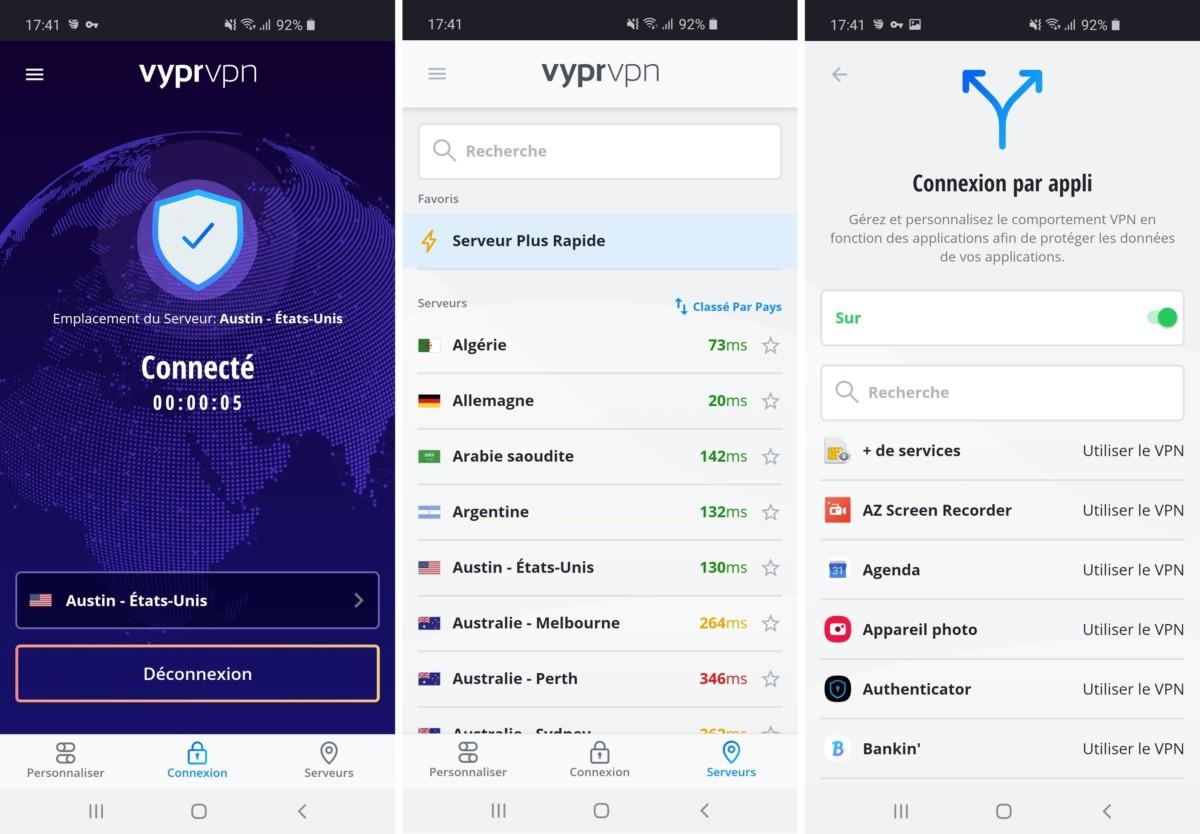 L'application de VyprVPN se prête mieux au mobile qu'au desktop. La version mobile est par ailleurs la seule à proposer l'option de Split tunneling.