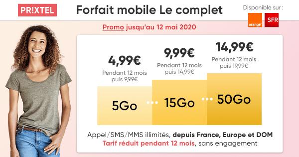 Avec le réseau Orange ou SFR, ce forfait mobile démarre à 4,99 euros pour 5 Go