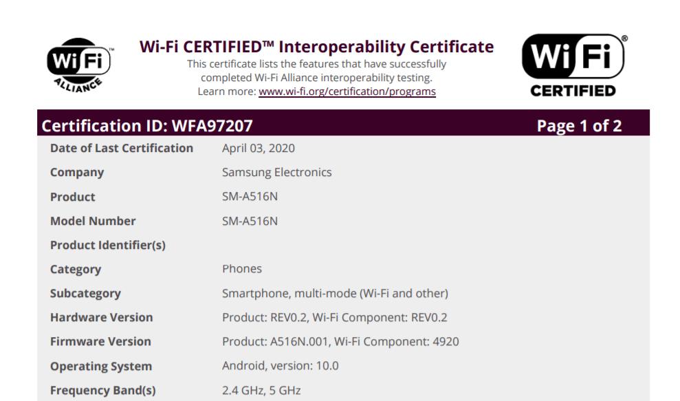 Le Samsung Galaxy A51 5G certifié par la Wi-Fi Alliance