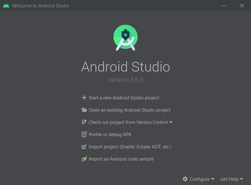Cliquez d'abord sur Start a new Android Studio project