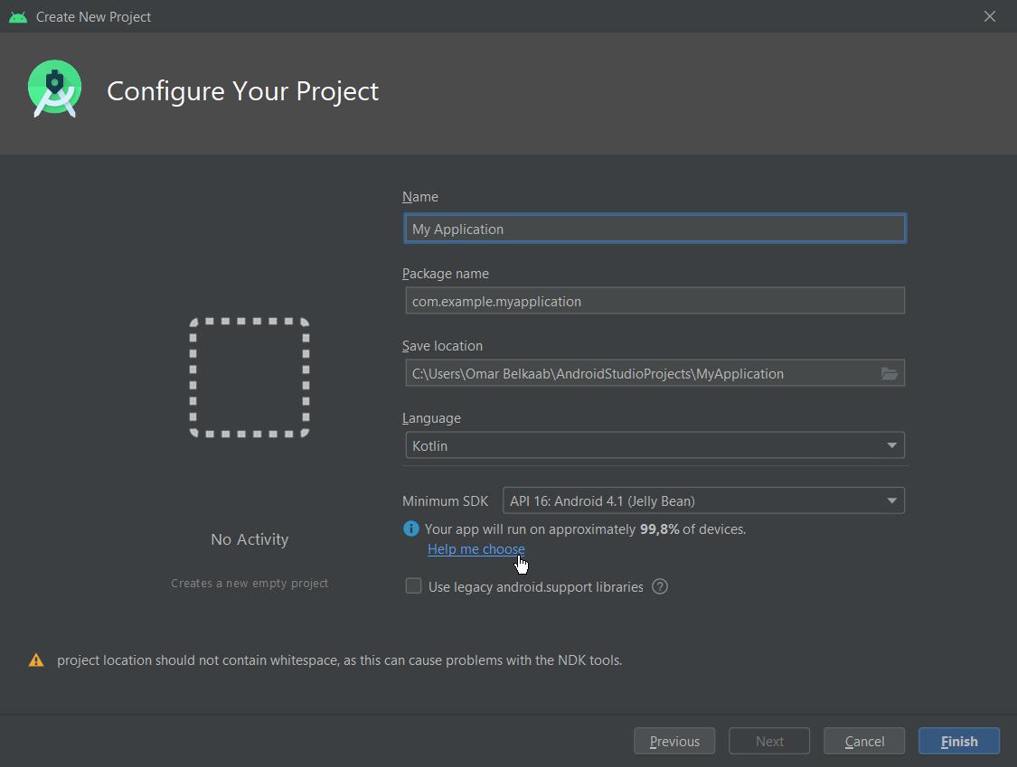 Le bouton Help me choose affiche les données de réparatition d'Android