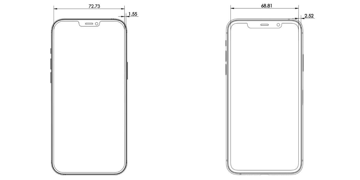 Une comparaison des tailles des encoches d'iPhone 12 et iPhone 11