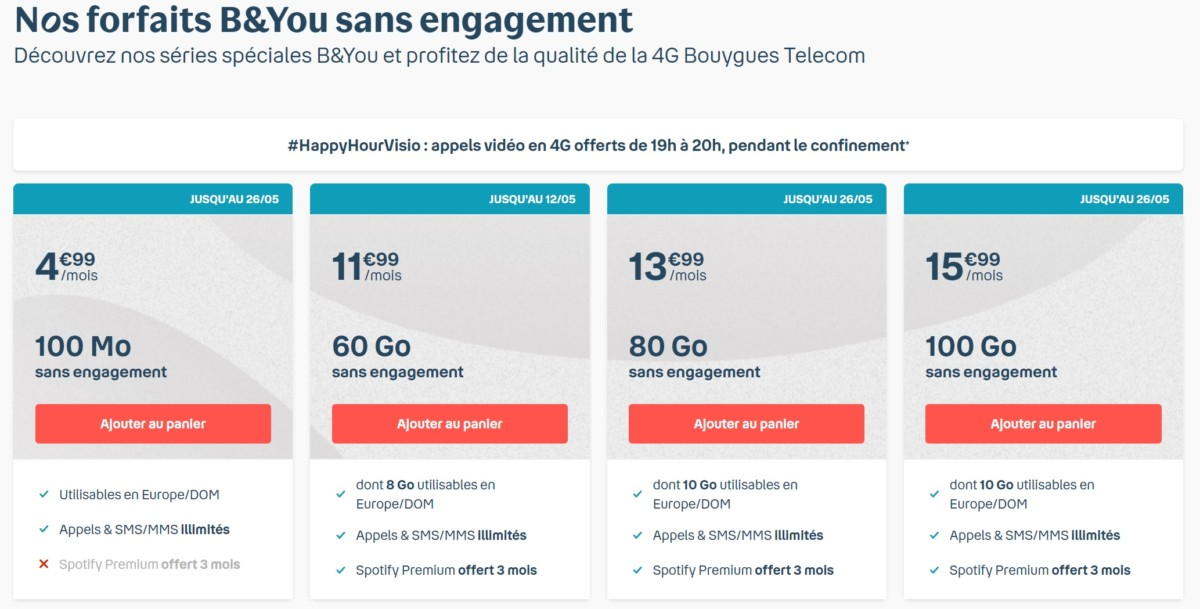 Bouygues Telecom prolonge ses offres mobile B&You à partir de 4,99 €/mois