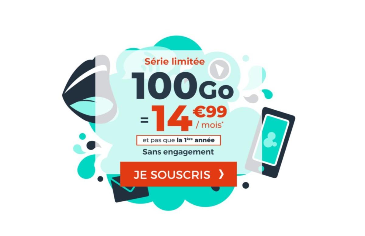 Forfait mobile 100 Go à 14,99 €/mois même après un an : ça continue avec une nouvelle offre
