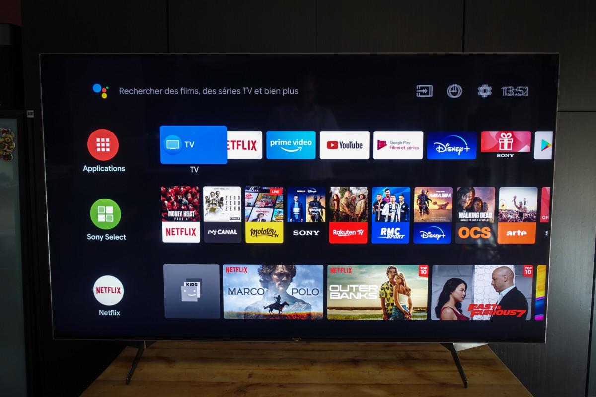 Le menu d'accueil d'Android TV
