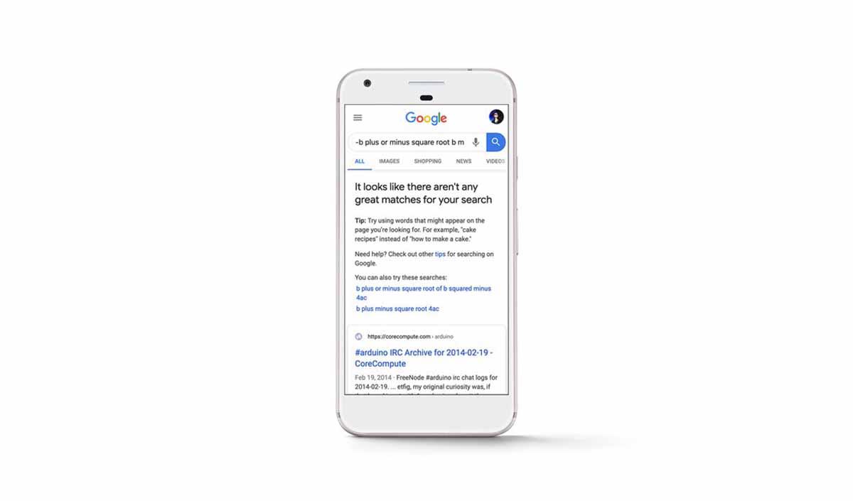 Message d'alerte sur Google pour les recherches non pertinentes