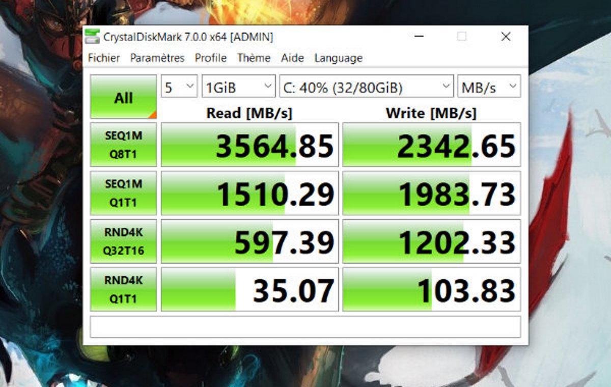 Le benchmark du SSD