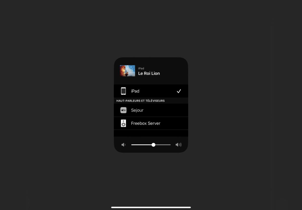 Voilà les options sur un iPad
