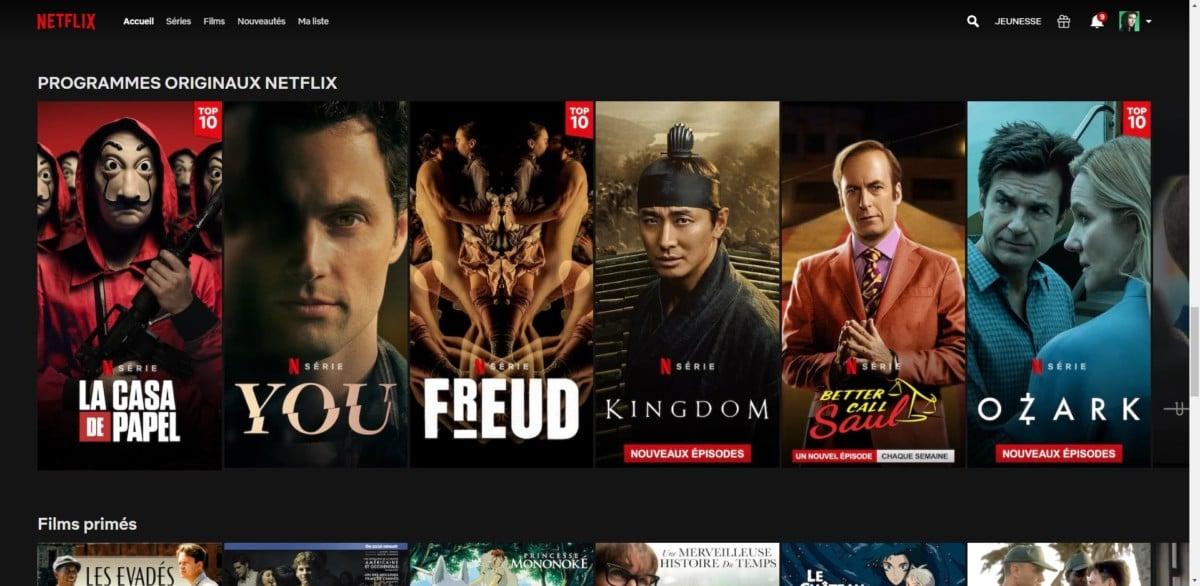 Netflix, interface web