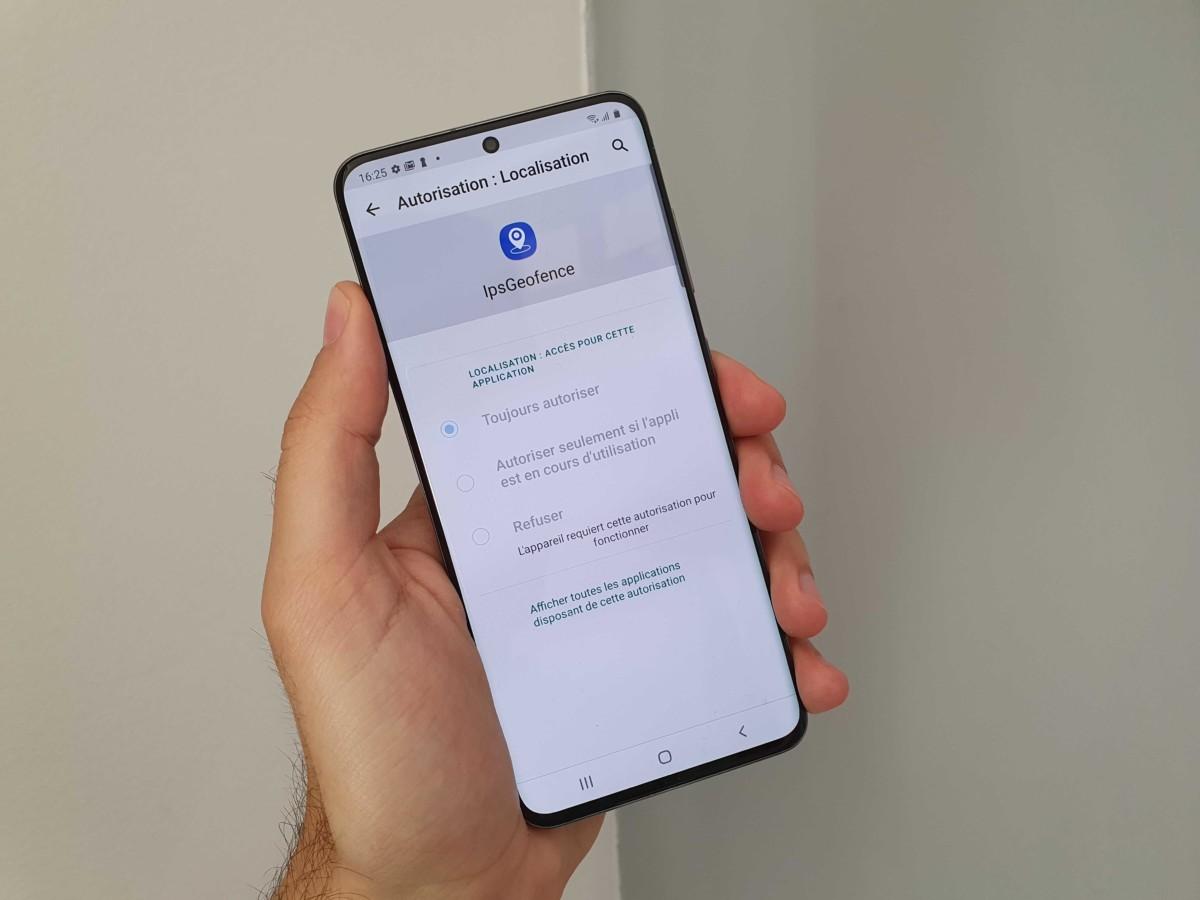 IPSGeofence sur un Samsung Galaxy S20