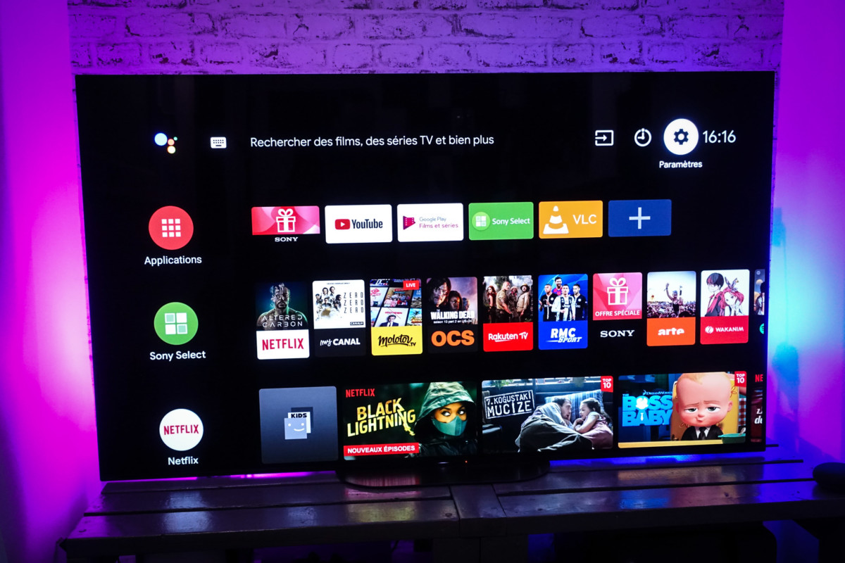SonyKD-65AG9, accueil Android TV