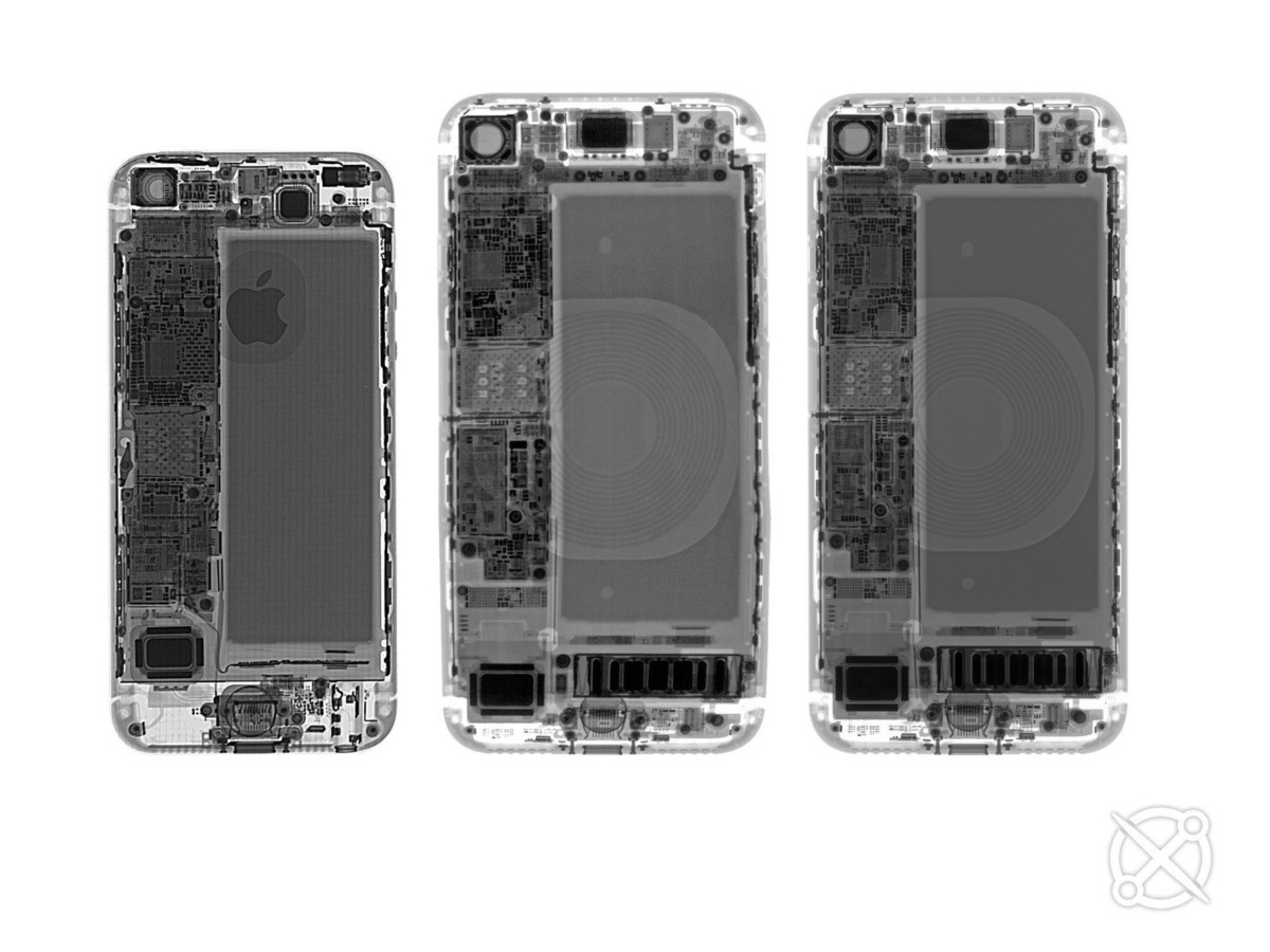 Röntgenåtergivning: iPhone SE (2016), iPhone 8, iPhone SE (2020)