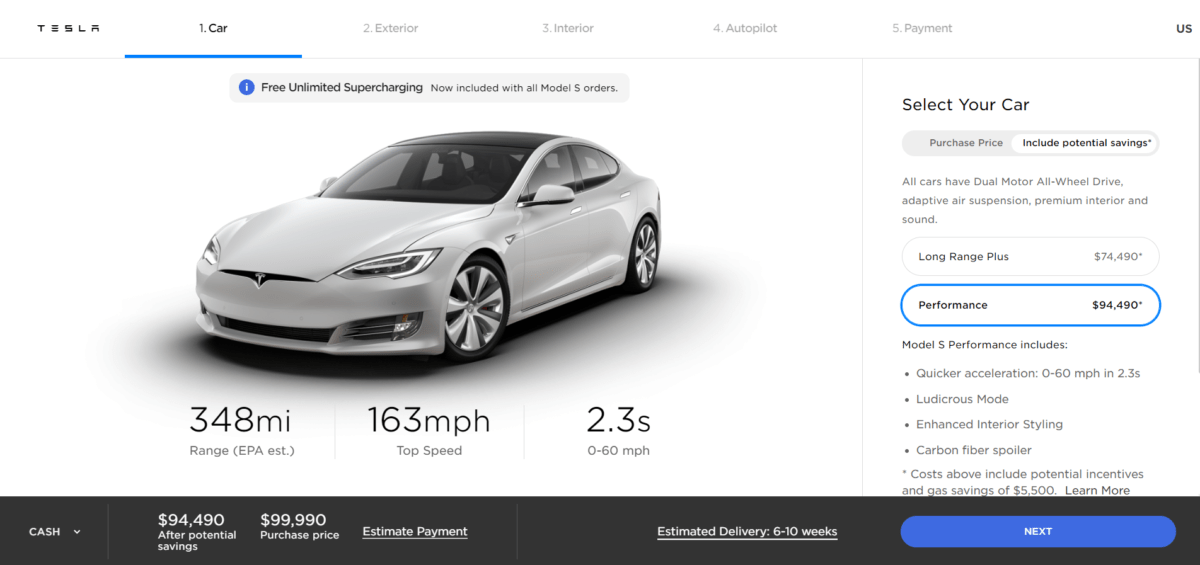 Fiche technique Tesla Model S