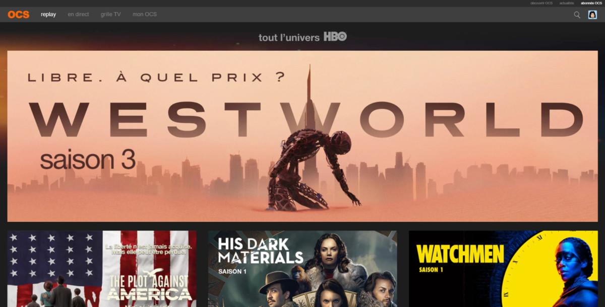 OCS, le catalogue HBO, interface web