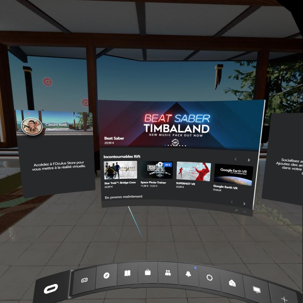 L'interface Oculus en VR sur PC