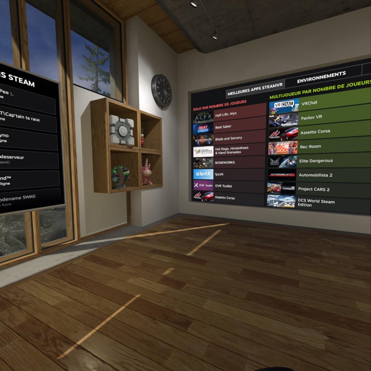 L'interface de SteamVR