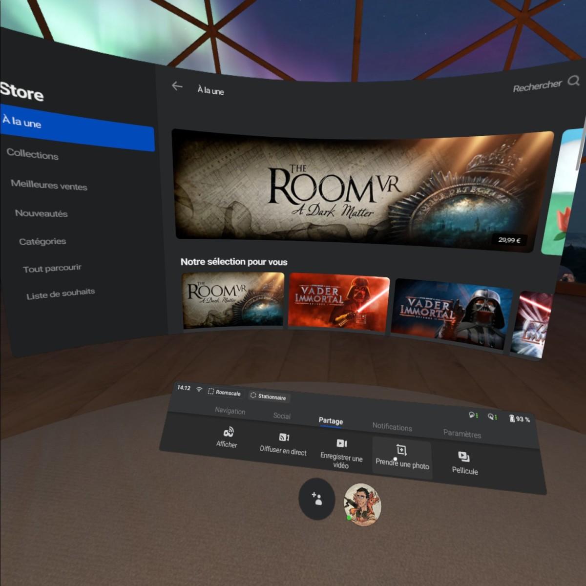 L'interface virtuelle à l'intérieur du Quest