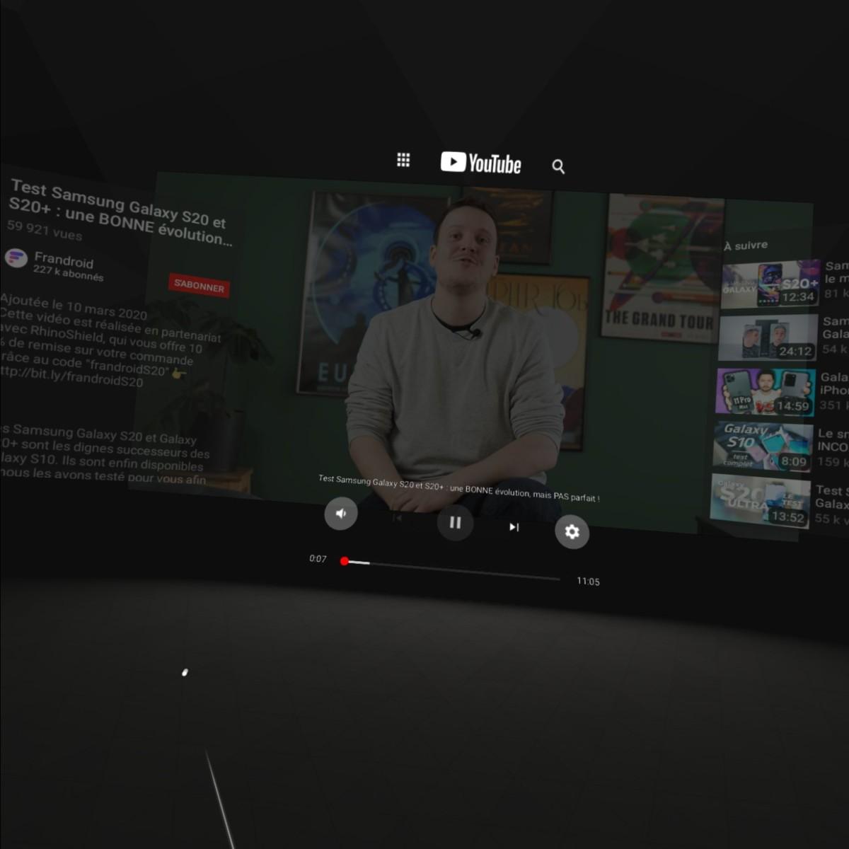 YouTube en VR sur Oculus Quest