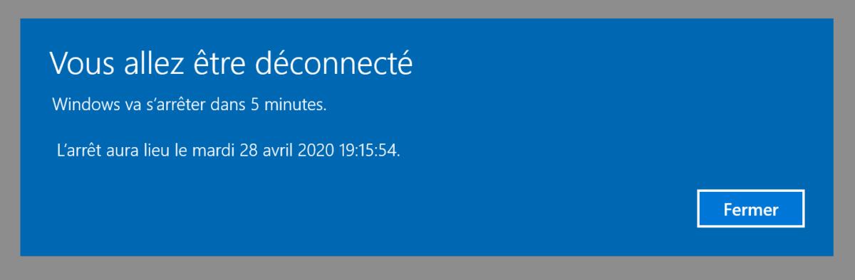 Redémarrage de Windows 10 après réinitialisation du réseau