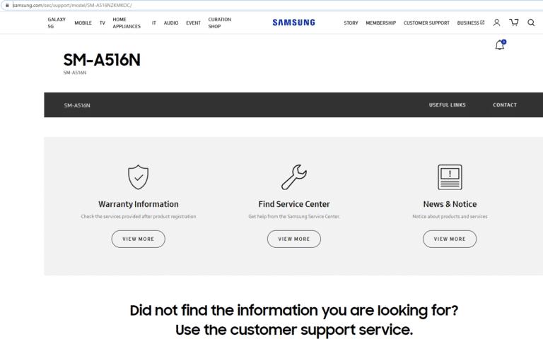 SM-A516N sur le site de Samsung