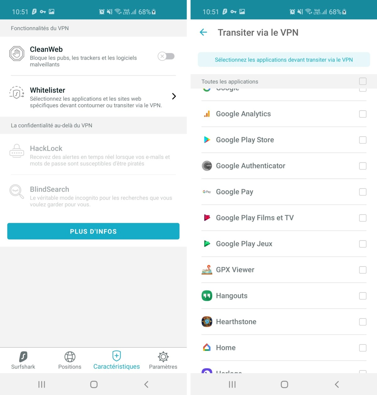 L'option Whitelister permet au VPN d'intégrer ou d'exclure des applications en particulier dans sa connexion à un serveur VPN.