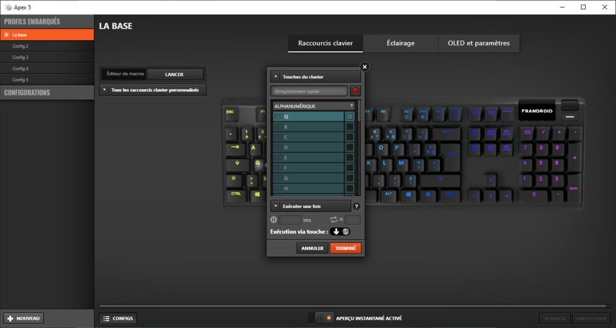 SteelSeries Engine avec le clavier SteelSeries Apex 5