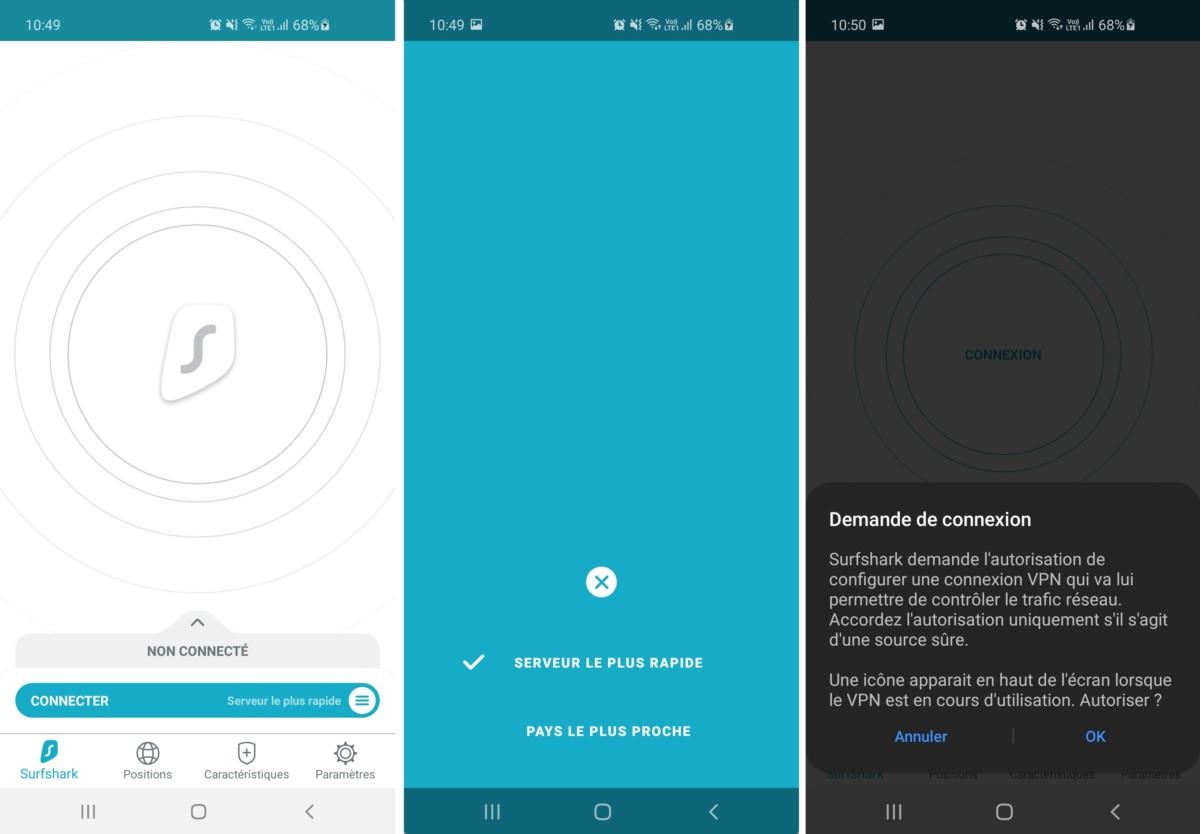 Lors de la première connexion, Android va vous demander de valider la connexion VPN de Surfshark.