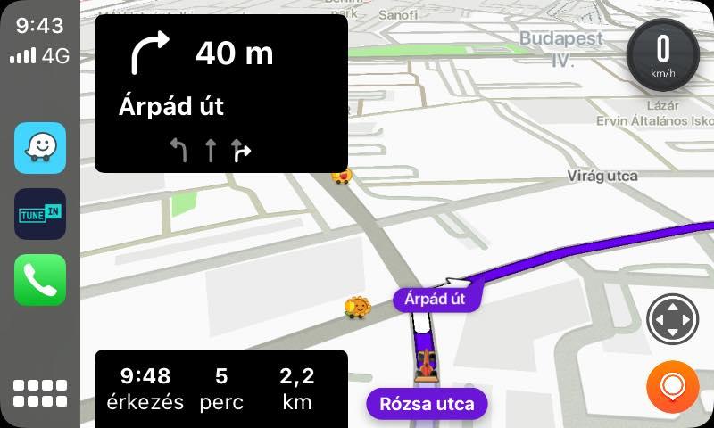 Test de l'indication de voies sur Waze en Hongrie