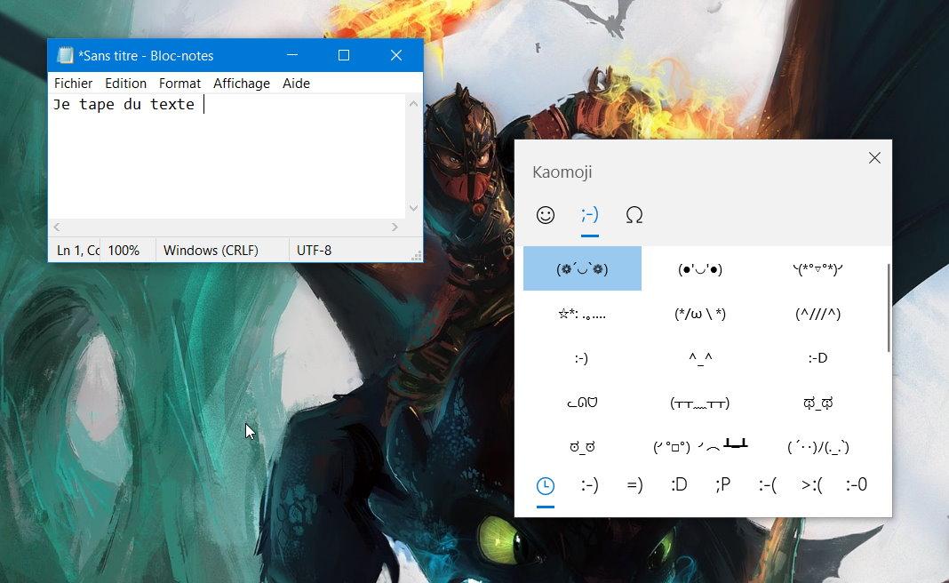 L'interface des Kaomoji