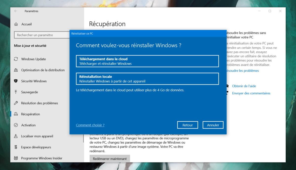 L'installation de Windows 10 depuis le cloud