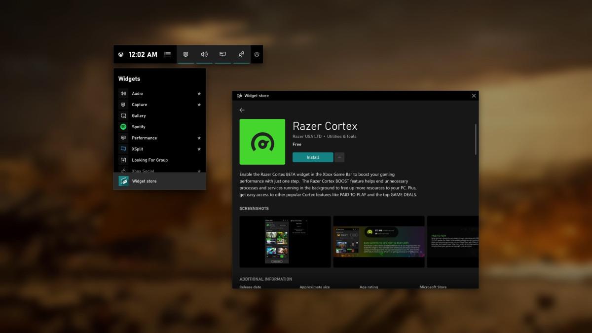 Xbox Game Bar : l'overlay Windows 10 s'offre une boutique d'extension en commençant par XSplit, Intel et Razer