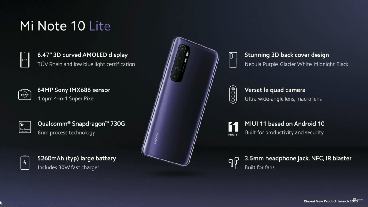 Caractéristiques du Xiaomi Mi Note 10 Lite