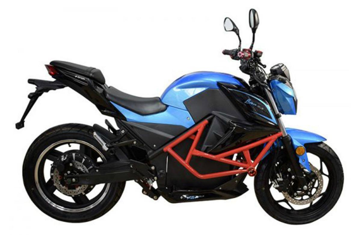 Vue latérale de la moto électrique Bravo GLE