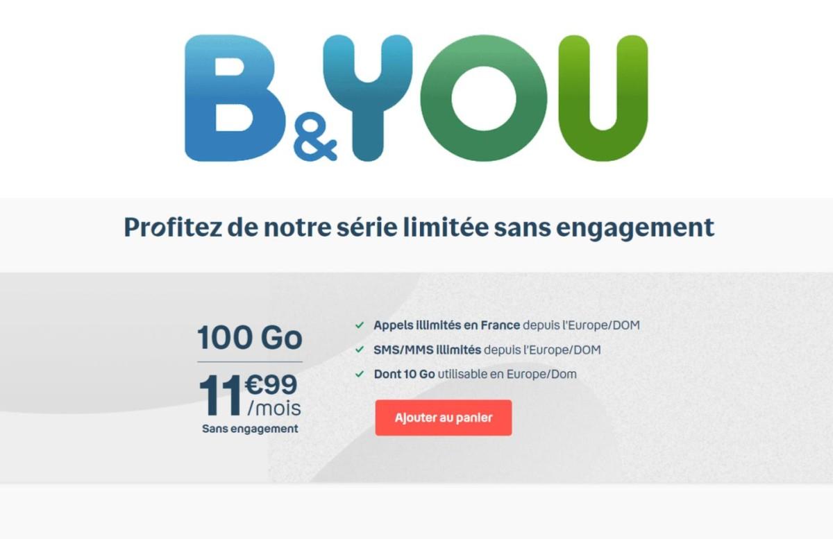 Bouygues Telecom prolonge son forfait mobile B&You 100 Go jusqu'à ce soir