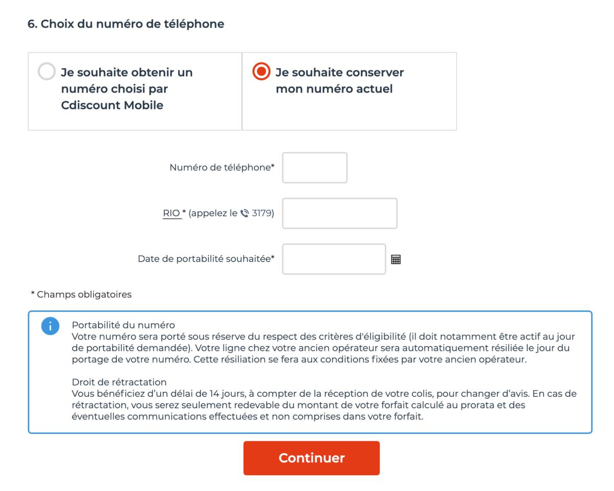 Lors de la souscription, entrez votre code RIO pour conserver votre numéro de téléphone.