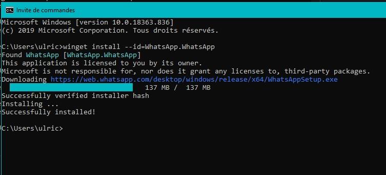 Cette commande m'a permis d'installer WhatsApp sur mon PC