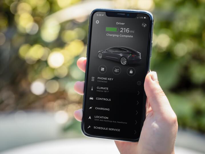 L'application Tesla, sans doute l'une des plus complètes actuellement sur le marché.