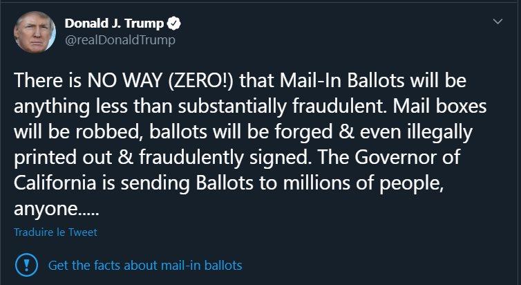 Lien de fact-checking ajouté par Twitter sous le post de Trump