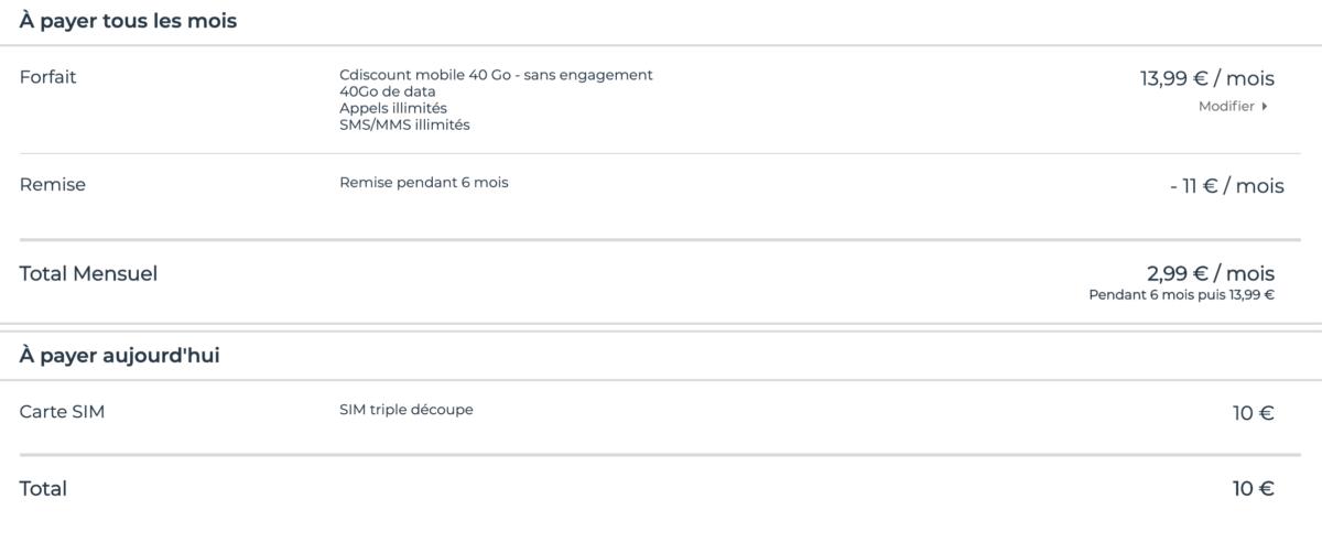 Voici comment se décompose l'offre de Cdiscount Mobile.