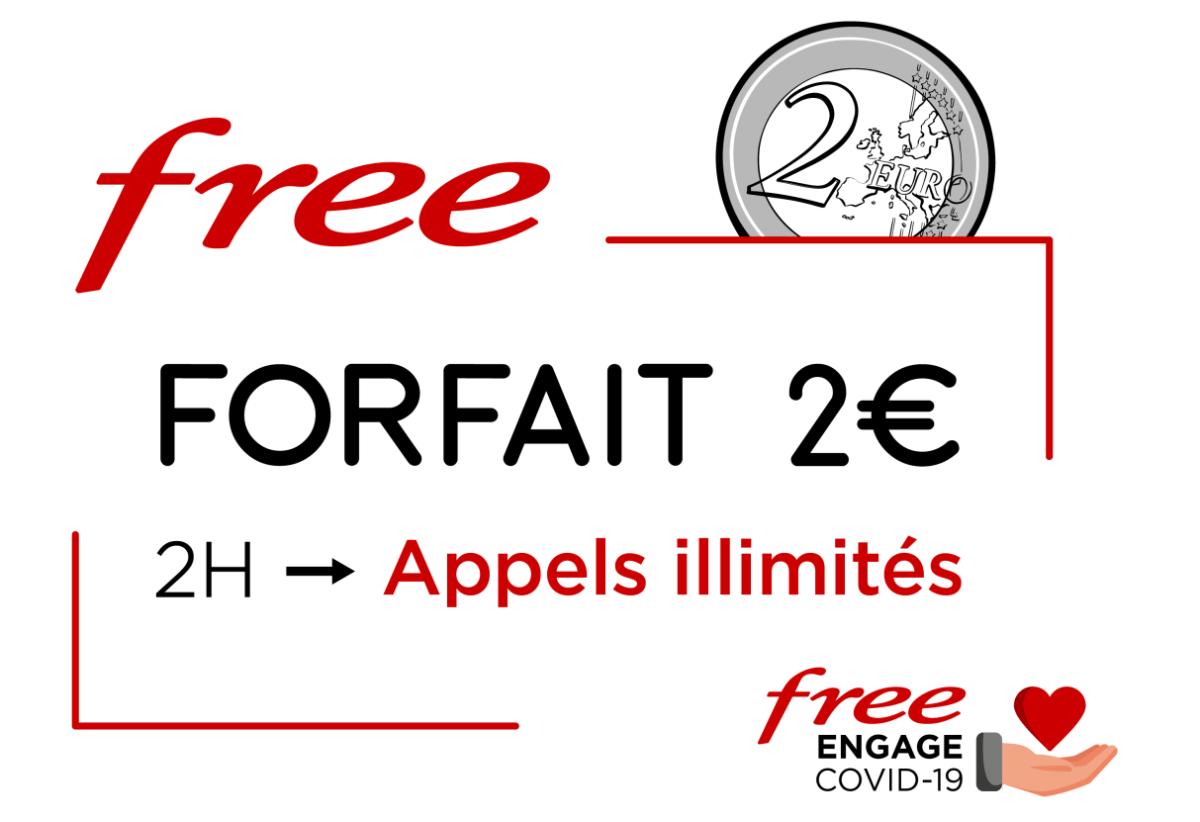 Appels illimités sur le forfait 2 euros de Free