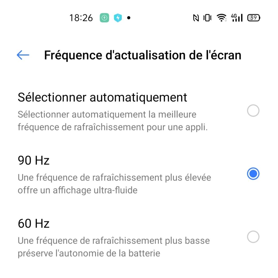 Mode 90 Hz sur le Realme 6 Pro