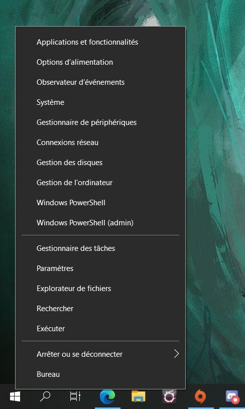 Le menu accessible avec un clic droit