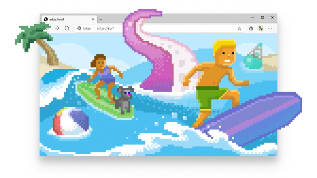 Microsoft Edge cache un jeu de surf