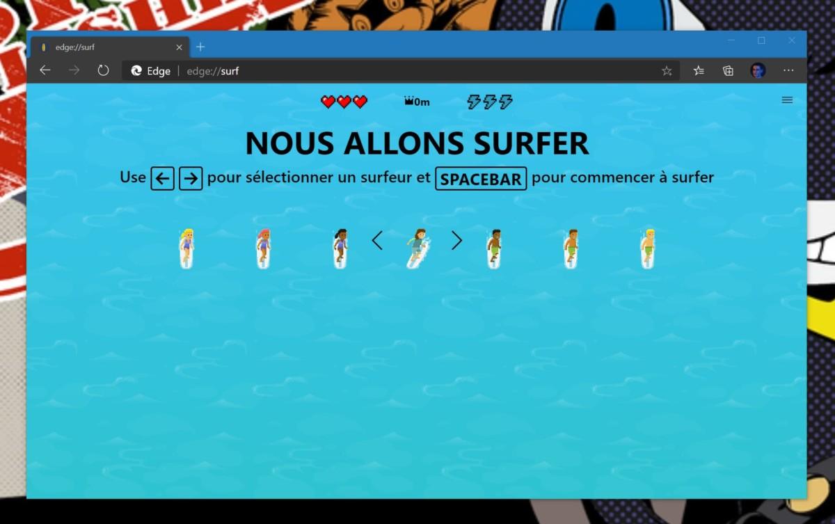 Le jeu de surf en action