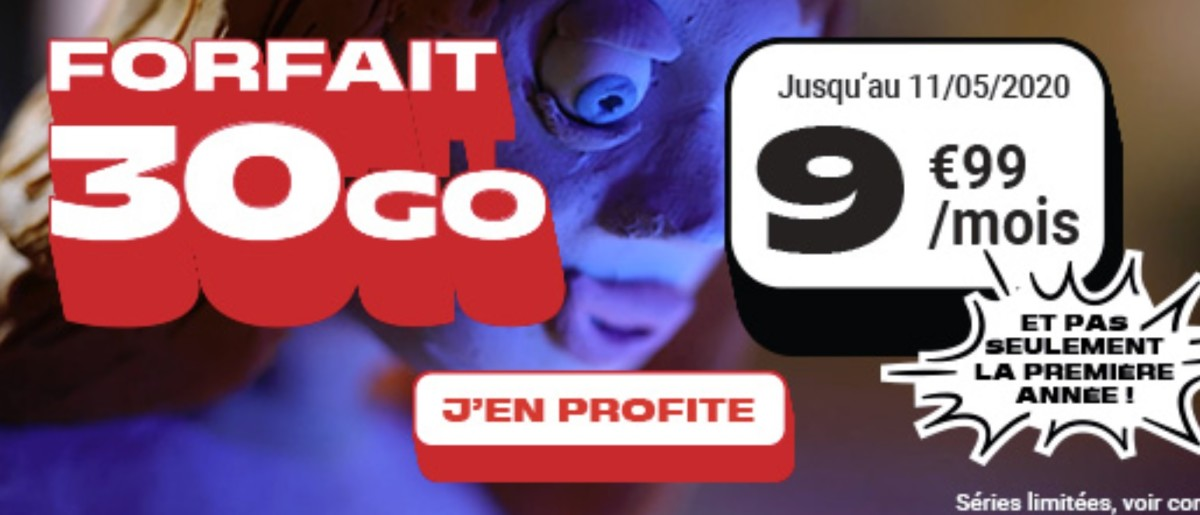 Dernier jour pour ce forfait mobile 30 Go à 9,99 €/mois même après 1 an