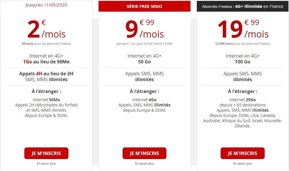 Les offres types chez Free Mobile