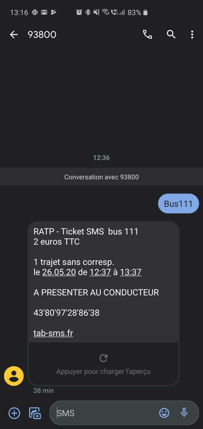 Exemple d'un Ticket SMS Bus reçu par un membre de la rédaction